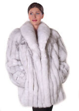"Real Genuine Natural Blue Fox Fur Jacket Coat 29"" for Women Size 12"