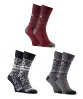 Farah - 2 Pack Mens Thick Fair Isle Vintage Heavy Wool Blend Crew Dress Socks