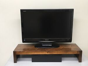 Modern TV Riser, Laptop, Printer Stand Rustic Hardwood Made in the USA