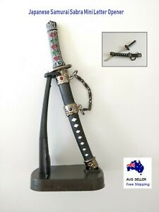 Japanese Samurai Sabra Mini Letter Opener Katana Sword With Display Desk Stand