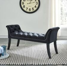 Velci Tufted Velvet Fabric Contoured Bench Ottoman in Black,Blue,Grey or Ivory