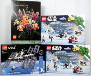 Lot 4 LEGO Sets #21321 Space Station, #10280 Flower Bouquet, #75307 Calendar NEW