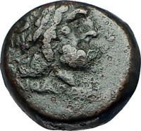 PERGAMON in Mysia 200BC Ancient Greek Coin ASCLEPIUS Medicine SNAKE STAFF i67892