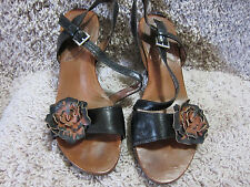 Women's Naya Airena sz 11M Black & Brown Strappy Leather Bamboo Heel Sandals 122