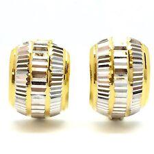 18K Two-Toned Diamond Cut Hoop Earring 3.80 Grams