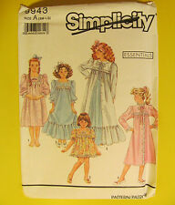 Simplicity Sewing Pattern #9943 Child's baby Doll Pajamas Nightgown  Robe Uncut