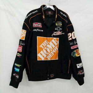 JH Designs Tony Stewart #20 Signed Black Cotton NASCAR Racing Jacket Men's Sz XL