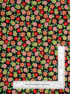 Christmas Peppermint Flowers Black Cotton Fabric QT Mary Engelbreit By The Yard