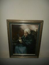 Old oil painting, { Grandmother drinking tea, is signed, nice frame! }.