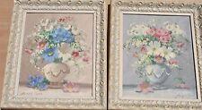 PAIR Mid Century Floral Still Life Paintings Joseph Lane Texas Artist Vintage