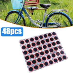 48Pcs Rubber Puncture Patches Bicycle Bike Tire TyreInner Tube Repair Kit Hot