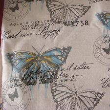 50x150cm Cotton Linen Fabric Printed Big Butterfly Vintage DIY Throw Pillow F10B