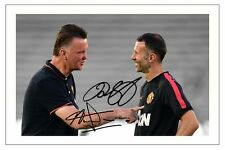 RYAN GIGGS + LOUIS VAN GAAL MANCHESTER UNITED MAN UTD SIGNED PHOTO PRINT SOCCER