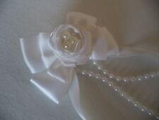 Stunning white bespoke, bridal, Communion, Rose, Pearl Ribbon bow hair clip