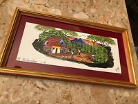 Hand Painted Framed Feather Art Village Jungle Scene Signed El Salvador Made