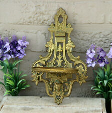 Gorgeous Antique bronze french gothic castle dragon figurine Wall console