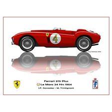 Print on paper Ferrari 375 Plus #4 González /  Tritignant Winners 24h LM 1954