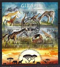 Animaux Girafes Togo (237) série complète de 4 timbres oblitérés en feuillet