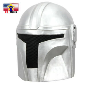 Mandalorian Star Wars Warrior Silver Latex Face Head Mask Halloween Costume