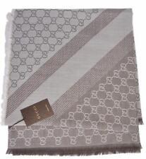 NEW Gucci 281942 XL Wool Taupe Cream GG Guccissima Logo Scarf Shawl Wrap