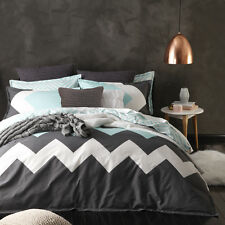 Logan and Mason MARLEY MINT Chevron Double Bed Size Doona Duvet Quilt Cover Set