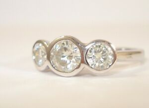18ct White Gold Moissanites Trilogy Ring with a £1,100.00 Safeguard Valuation