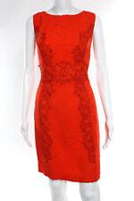 Carolina Herrera Bright Orange Scoop Neck Silk Sleeveless Dress Size 12 NEW