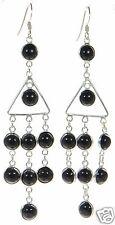 Solid 925 Sterling Silver Black Onyx Chandelier Earrings '
