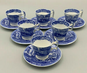 Spode Blue Italian - Vintage Set of 6 x Coffee Cups and Saucers.Blue Oval Stamp.
