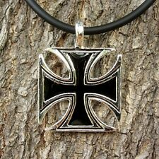 p17 GERMAN IRON CROSS PENDANT PEWTER ORNAMENT LADY PUNK NECKLACE NEW BIKE UNISEX
