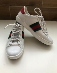 Gucci Sneakers Womens Bee Leather White Low Shoes SZ. US 6 EU 36 RRP 800$