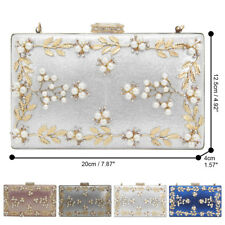 148bb5ce3ed Women Vintage Flower Pearl Satin Clutch Bag Diamante Closure Party Wedding  Purse