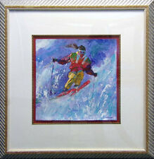 Lin Chong Skier Original Acrylic Painting on Paper w/Custom frame H.Signed