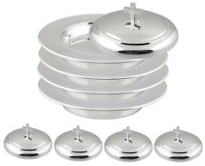 Communion Ware 4 Stacking Bread Plate + 4 Lids (Stainless Steel Mirror Finish)