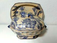 New ListingVtg Porcelain Miniature Tureen W Underplate China Hua Ping Tang Zhi Blue Beige