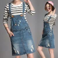 Hot Women Fashion Overalls Suspender Denim Jeans Skirt Casual Loose Jumper Dress