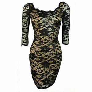 Black and Cream Long Sleeve Bodycon Lace Mini Dress