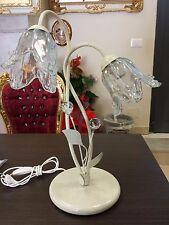 LUMETTO LAMPADA DA COMODINO ABAT JOUR 2 LUCI con sfere design swarovski
