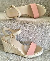 Graceland Uk 8 Eu 41 Wedge Sandals Women's Peach Peep Toe Gold Sling Back Shoes