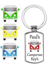 Personalised rectangular VW Cammpervan Metal Keyring Gift Present