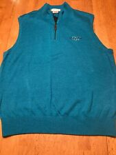 Martin Quail West Sleeveless Pullover Golf  Merino Sweater Vest I/4 Zip Teal M