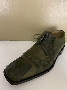 David Eden Chester Crocodile Skin Green Size 10 Mens Shoes Oxford Square Toe