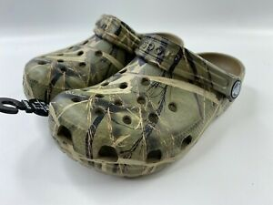 Crocs Kids Us C13 Classic Realtree Camo Clog Shoes Olive Lightweight Backstrap