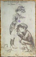 Cigarette Smoking Boy Lighting, Girl's Skirt 1920s Risque Realphoto Postcard
