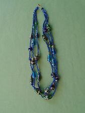 "26"" Glass Hand Paint Beads 3 Strand Necklace Blue Green Gold Two Looks in One!"