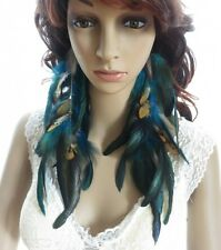 49a1-9 chains Natural Feathers Earrings Jewelry1 pair lhf130930