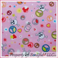 BonEful Fabric FQ Cotton Flannel Quilt Girl Pink Heart Skull PEACE Star Hippie