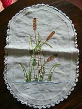 Embroidered Doily Table Linen White Crochet Trim Cat Tails 14 x 10 Inch CUTE