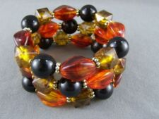 """Brown Black Amber faceted bead 3-strand chunky stretch beaded bracelet 1.5"""" wide"""