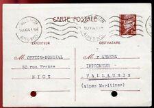 CARTE POSTALE ENTIER POSTALE NICE POUR VALLAURIS 1944